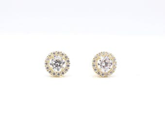 14k Yellow Gold Halo Round Cubic Zirconia Stud Earrings 8mm
