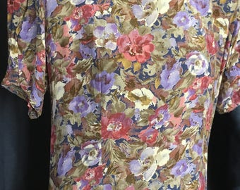 Floral print dress with ruffles/90's/viscose/S-M