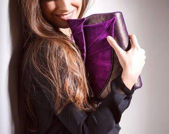 Purple Leather Clutch | Purple Clutch Bag | Leather Clutch Bag | Purple Evening Bag | Purple Leather Bag | Leather Clutch Leaf Purple
