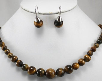 jewelry set - 6-14 mm tiger eye stone necklace & earrings set