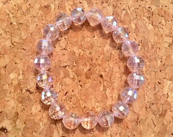 Elastic faceted sparkly pink glass bead bracelet