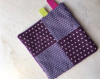 Purple minky blanket for baby themed polka dots and stars