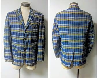 Vintage Clothing, Vintage Mens Polyester Plaid Blazer, Navy Blue, Gold, White and Khakie Plaid Jacket, Men's Size Regular 42