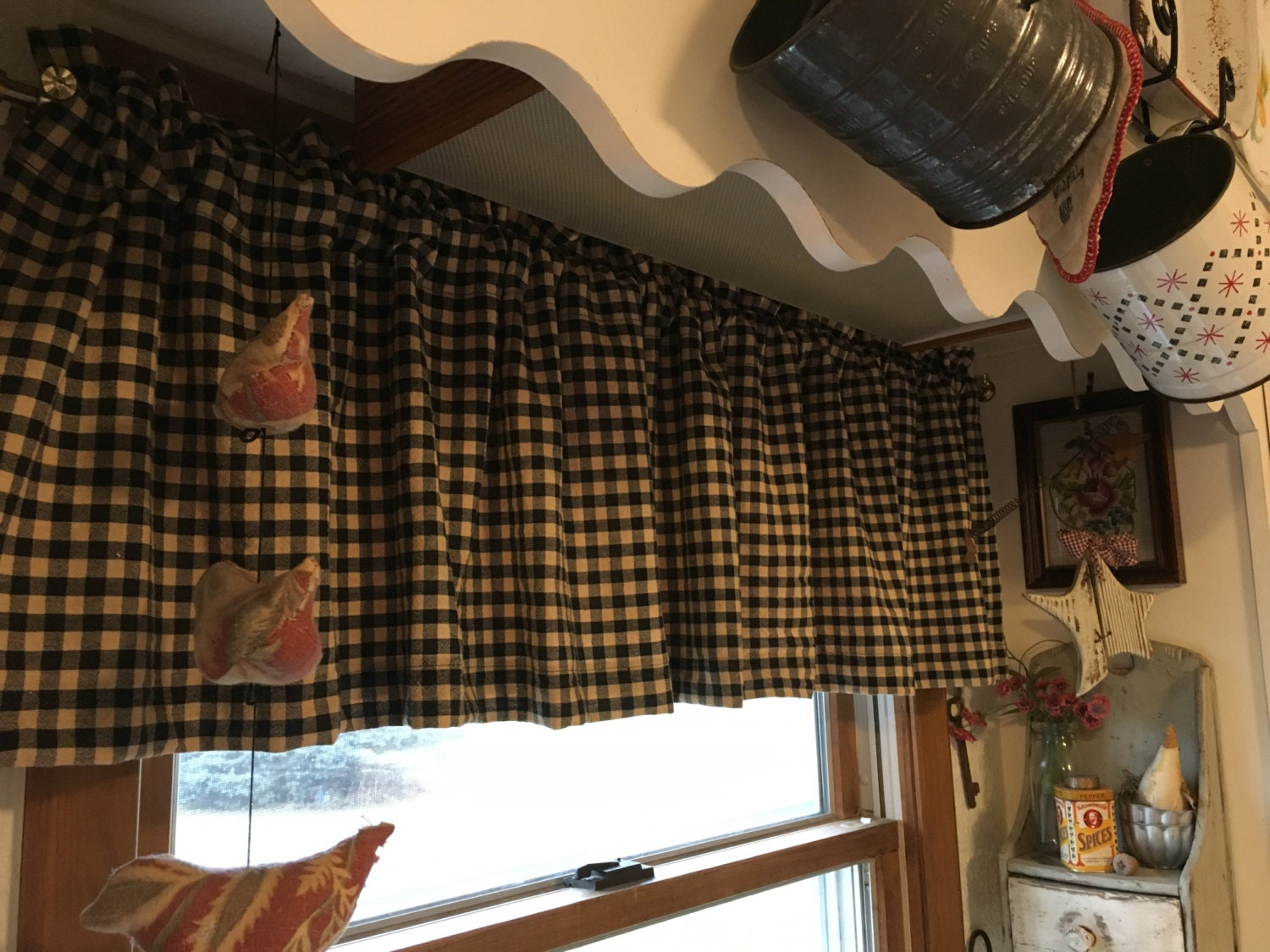 Country Curtains Primitive Curtains Black And Tan Check