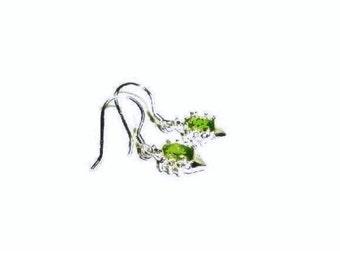 Peridot Earrings , Peridot Gemstone   , Sterling Silver Ear Wires