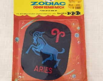 Vintage 1974 Zodiac Denim Aries Patch ~ Iron On Or Sew On Zodiac Patch At Hope Knows Vintage