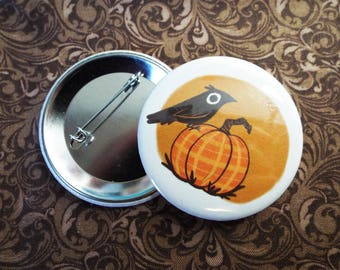 Crow and Pumpkin Button Pin