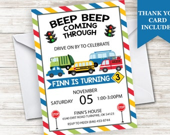 Cars Invite Invitation Truck Automobiles Transportation 5x7 Boys Kids Birthday Digital Personalized