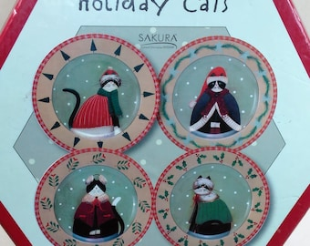 Fiddlestix Holiday Dessert/Salad Plates/Stonewear/ Set Of 4 Holiday Cats/In A Gift Box/ Like New Condition (X)
