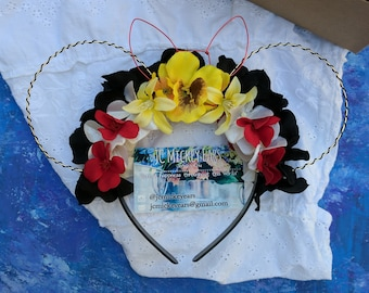 Minnie Mouse inspired Floral Wire Mickey Ears