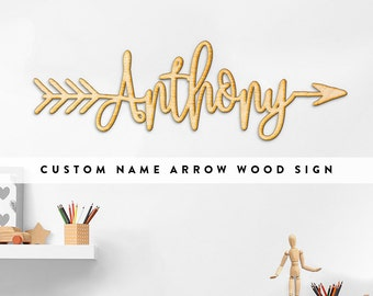 Custom Name Word Arrow Wood Sign - Personalized Wooden Sign, Custom Wood Gift, Wooden Wedding Gift, 5 Year Anniversary Gift, Wood Script