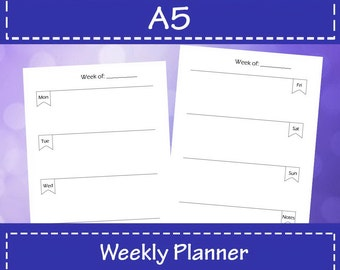 Weekly Planner A5 Size, Weekly Planner 2018, Planner Printable, A5 Planner Inserts, Weekly Organizer, Instant Download.