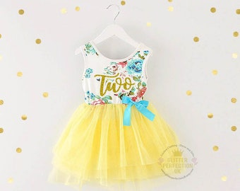 Second Birthday Dress,Toddler Tutu Dress, 2nd Birthday Dress, Cake Smash Outfit, floral dress, Yellow Tutu, Gold lettering