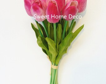 JennysFlowerShop Latex Real Touch 13'' Artificial Tulip 10 Stems Flower Bouquet for Home/Wedding Hot Pink Re-stock on 03/31/17