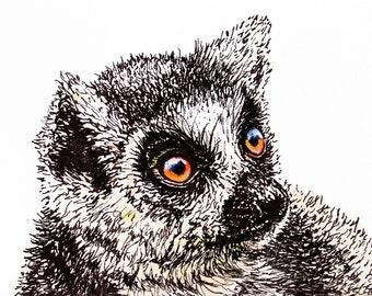 Lemur ACEO Print, Acrylic Painting Print, Animal Art Print, ACEO ATC