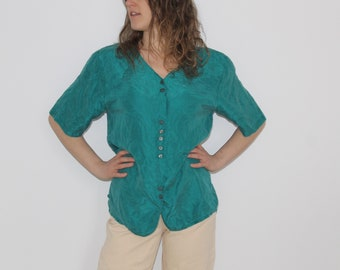 Green silk slouchy shirt 90s green shirt Oversized teal shirt 90s button up Southwestern oversized blouse button down shirt silk minimalist