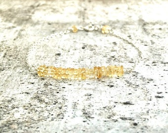 Dainty Citrine Bar Bracelet