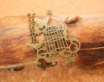Long Necklace Bird Cage Antique Bronze Colour - Boho