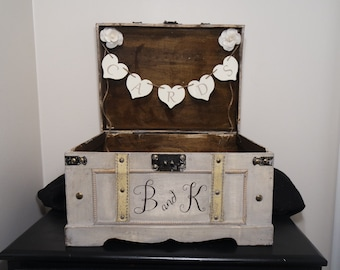 Personalized Wedding Card Trunk, Personalized Vintage Card Trunk, Vintage Wedding Card Box, Wedding Keepsake Box, Wedding Card Box, Card Box