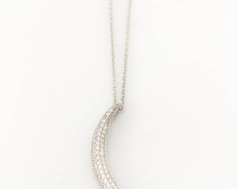 Sterling Silver Necklace Crescent Moon w/Zirconia