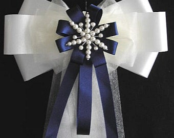 10 x Snowflake Wedding Pew End Bows - Choice of colour