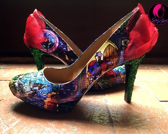 Beauty and the Beast Enchanted Rose Pumps