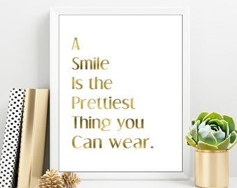 A Smile is the Prettiest Thing, Girl Gold Wall Art, Morning Quote For Girl, Motivational Print,Teen Girl Room Decor, Gift For Her