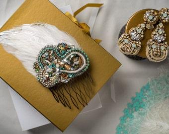 Swarovski Crystal Custom Comb in Teal, Blue, Topaz, White, Opal, Gilded Gold - Dramatic, Ornate Design by Abby Shepard
