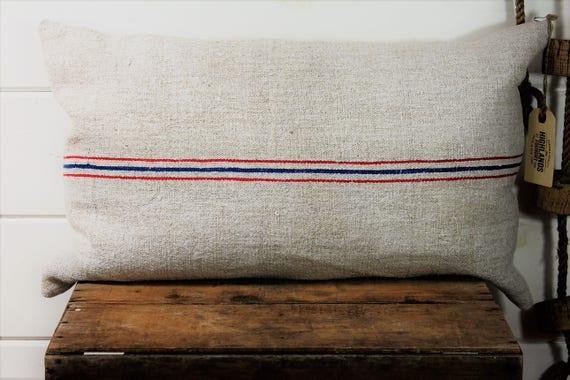 European Stripe Grain Sack Pillow Cover