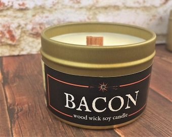 BACON Candle | Wood Wick | 100% Soy Wax | Gold Tin | 4 & 8 oz sizes | Geek - RPG - Gag Gift | Crackling Wick