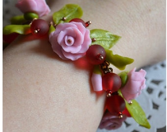 Charm Bracelets Girlfriend gift Pink Bracelet Presents Bracelet handmade Pink flowers Flower bracelet Mothers day gifts Pink jewelry Mothers