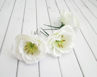White Lisianthus Flower Hair Pin - Eustoma Bridal Hair Accessories - White Flower Hair Pins - Wedding Flower Hair Accessories - Flower Clips
