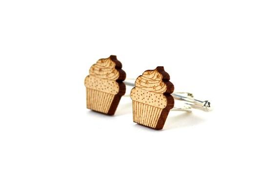 Cupcake cufflinks - cupcake cuffs - lasercut maple wood - graphic food accessory - kitsch wedding jewelry - groom - bestman