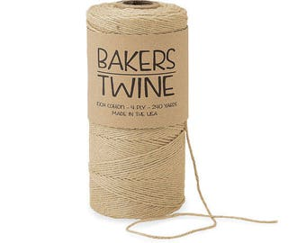 Solid Kraft Twine , 4-ply 100% Cotton Baker's Twine