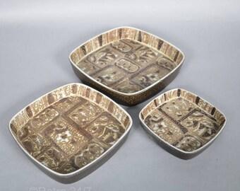 SALE! . Set of 3 Royal Copenhagen dishes  designed by - Nils Thorsson -  fish decor - 719