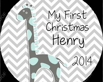 Teal and Gray Giraffe Chevron Baby Boy First Christmas Ornament Personalized for you Snowflake Shaped or Round Disc