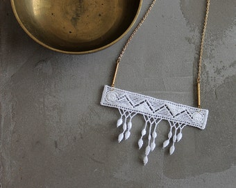 fringe necklace // MARLO // geometric / white lace and brass / statement necklace / modern lace / minimal / boho chic