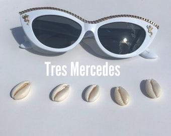 Mermaid- cateye shape sunglasses with gold chain and mermaid Ochun
