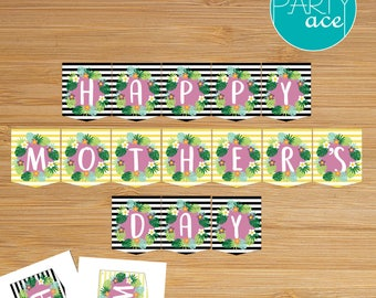 Happy Mother's Day Stripes Tropical Leaves Flowers Printable Banner Mom's Day