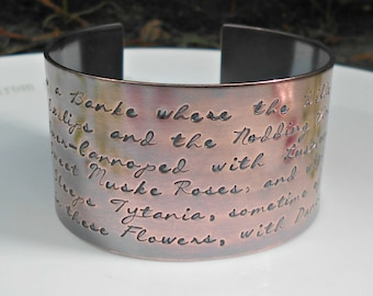 Midsummer Nights Dream, Shakespeare Bracelet, Hand Stamped Cuff, Quote Jewelry, Shakespeare Quote, Shakespeare Jewelry, Literary Gifts