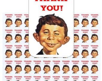 """50 Alfred E Neuman Thank You Envelope Seals / Labels / Stickers, 1"""" by 1.5"""""""