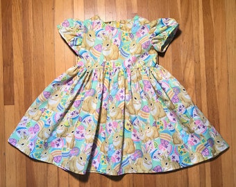 Bunnies with Eggs Girls Green Easter Dress Size 2T, 3T