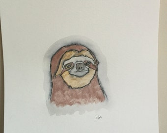 Paresseux, aquarelle / dessin
