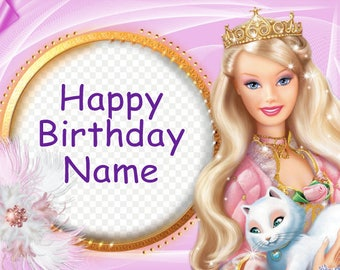 Princess Barbie & Kitty Cat Edible Image Cake Topper Personalized Birthday 1/4 Sheet