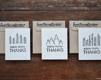 Black and White Handmade Thank You Cards with Brown Recycled Envelopes- Set of 3- Eco Friendly Mulberry Paper- Hand drawn Wilderness Theme