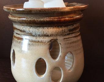 Oil Warmer, Wax Melter, Wax Warmer, Oil Diffuser, Ceramic  Bone and Waterfall Brown