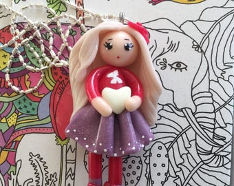 Doll for Valentine's day necklace