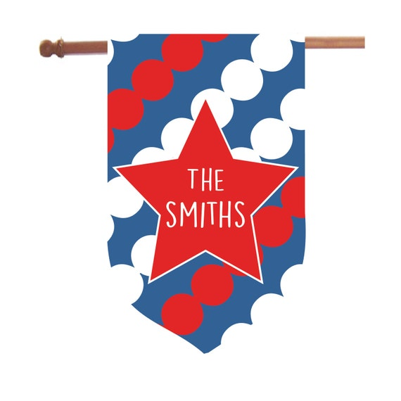Personalized Patriotic House Flag