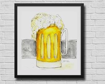 Beer Mug print, Beer wall art, pub art, Groomsman Gift, Personalized gifts, man cave decor, Craft Beer Decor, art for bar, kitchen prints