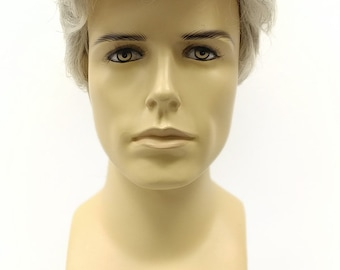 Short Light Gray Interspersed with Black Men's Wig. Men's Side Part Wig. Synthetic Fashion Wig. [89-455B-Don-59]